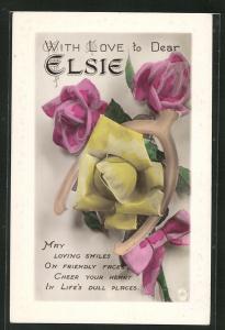 Präge-AK Blumengrüsse zum Namenstag Elsie