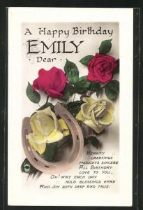 Präge-AK Blumengrüsse und Hufeisen zum Geburtstag Emily