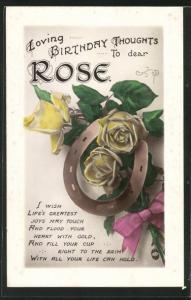 Präge-AK Blumengrüsse und Hufeisen zum Geburtstag Rose
