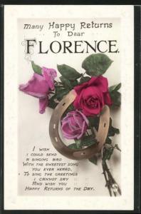 Präge-AK Blumengrüsse und Hufeisen zum Namenstag Florence