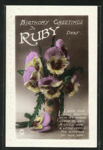Präge-AK Blumengrüsse zum Geburtstag Ruby