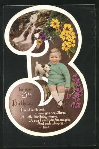 AK Glückwunsch zum 3. Geburtstag, Karte in Gestalt der Ziffer 3