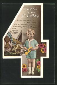 AK Glückwunsch zum 4. Geburtstag, Karte in Gestalt der Ziffer 4