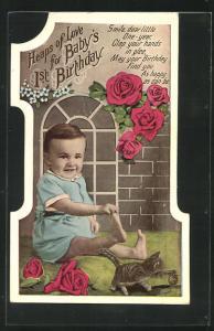 AK Glückwunsch zum 1. Geburtstag, Karte in Gestalt der Ziffer 1