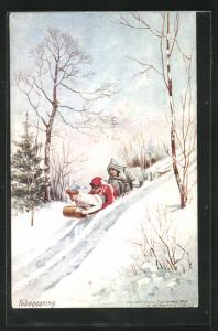 Künstler-AK Schlitten, drei Personen liegen bäuchlings auf Rodelschlitten, Tobogganing