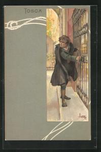Künstler-AK Leopoldo Metlicovitz: Tosca, Mann in dunklem Mantel steht vor einem Gittertor