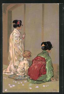 Künstler-AK Leopoldo Metlicovitz: Madame Butterfly, zwei Geishas neben einem kleinen blonden Jungen