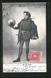 AK Faust, Mann hält Kugel in der Hand, Mefistofele, Noten