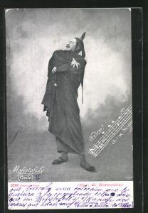 AK Faust, Mefistofele, Mann in Umhang mit dramatischer Pose