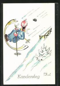 Künstler-AK Kandersteg, Skifahrer mit runden Skiern lacht im Flug, Leo treibt Wintersport