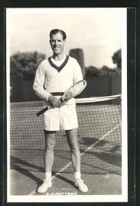 AK Tennisspieler, A. J. Mottram lächelnd am Netz