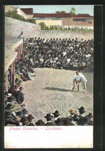 AK Ringer, Fiestas Canarias, Luchadas, Männer beim Ringen vor Publikum