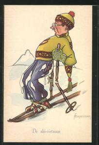 Künstler-AK Ski, Skifahrer mit geflickten Stöcken und Schnee an der Kleidung