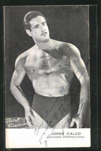 AK Ringer, Jorge Calvo in Trikot und Pose, Luchador Internacional