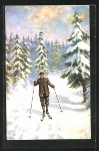 Künstler-AK Ski, Skifahrer in Anzug in Winterlandschaft mit Tannen