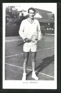 AK Tennis, Spieler, W. W. Bowrey in Tenniskleidung auf dem Platz