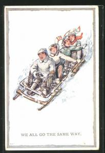 Künstler-AK Schlittenfahrt, We all go the same way, zwei Paare in einem grossen Schlitten