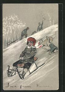 Präge-AK Kind fährt Schlitten den Hang hinunter
