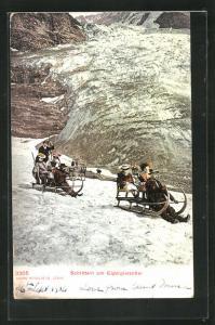 AK Eigergletscher, Schlitteln, grosse Schlitten mit Ausflügler