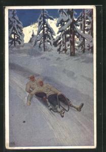 Künstler-AK zwei Männer in einem Schlitten legen sich in die Kurve in Rodelbahn