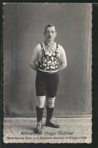 AK Ringer, Altmeister Hugo Büttner mit vielen Medaillen, Mehrfacher Gau- u. 4. Deutsch. Meister im Ringen 1935