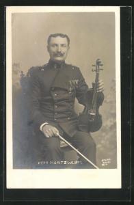 AK Musiker Herr Moritz Wurm mit Geige