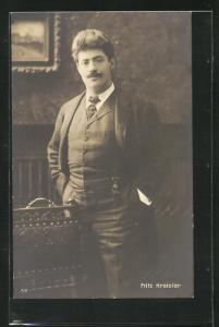 AK Musiker Fritz Kreisler im Anzug und Krawatte