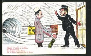 AK Limerick, The Lift man said, if it rains..., Aufzugführer weist einen Mann an, Scherz