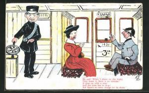 AK Limerick, He said When I shove on the brake..., Dame mit einem Herrn im Bahnabteil und Schaffner, Scherz