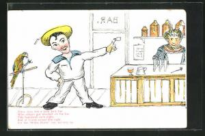AK Limerick, There once was a jolly Jack Tar, Matrose mit Pfeife und Papagei in der Bar, Scherz