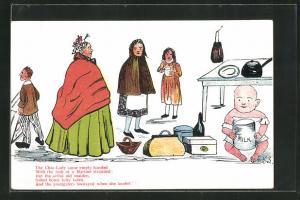 AK Limerick, The Char-Lady came empty handed..., Die Putzfrau mit Mädchen, Baby mit Milch unterm Tisch, Scherz