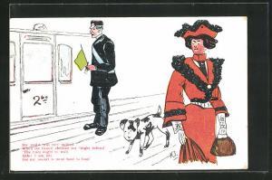 AK Limerick, She said it was very unkind..., Frau mit Hund geht an Bahnaufseher vorbei, Scherz