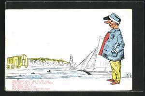 AK Limerick, The Skipper cried Give me the soap..., Mann am See mit Segeloot, Scherz