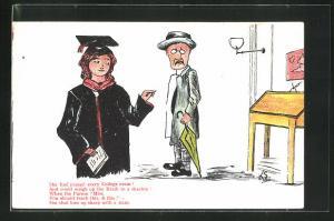 AK Limerick, She had passed every College exam!..., Collegeabsolventin und Herr mit Schirm und Hut, Scherz