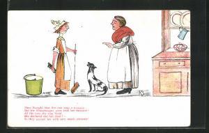 AK Limerick, They thought that this one was a treasure..., Hausherrin spricht mit der Haushaltshilfe, Scherz