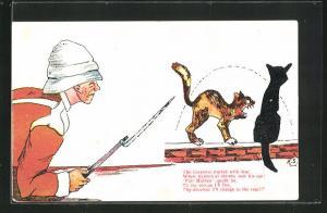 AK Limerick, The Corporal started with fear..., Soldat in Uniform mit Gewehr und Katzen, Scherz
