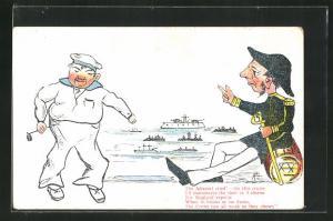 AK Limerick, The Admiral cried!, On this cruise..., Admiral in Uniform mit einem Matrosen, Scherz