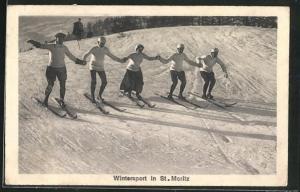AK St. Moritz, Wintersport, Männer und Frauen fahren Ski