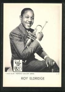 AK Jazz-Musiker Roy Eldridge mit Trompete