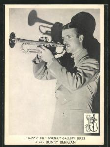 AK Jazz-Musiker Bunny Berigan mit Trompete