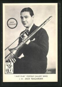 AK Jazz-Musiker Jack Teagarden mit Trompete