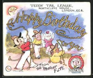 AK London, Teddy Tail League, Northcliffe House, Maus und Ente schwingen ein Seil, Glückwunsch zum Geburtstag, Comic