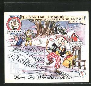 AK London, Teddy Tail League, Northcliffe House, Maus läuft auf Schlittschuhen, Glückwunsch zum Geburtstag, Comic