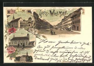 Lithographie Willisau, Kapelle u. Oberthor, Kirche, Hauptstrasse, Realschule