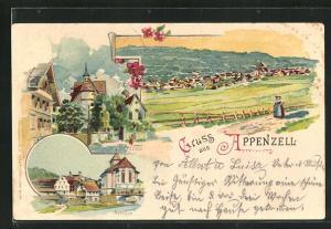 Lithographie Appenzell, Gesamtansicht, Schloss, Kirche