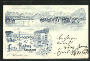 Vorläufer-Lithographie Luzern, Hotel Brünig, Teilansicht