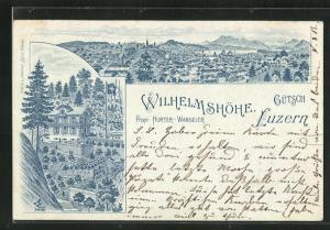 Lithographie Luzern, Hotel Wilhelmshöhe, Ortsansicht
