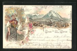 Lithographie Glarus, Gesamtansicht mit Gebirgspanorama, Junge Frau in Volkstracht