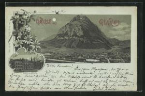 Mondschein-Lithographie Glarus, Regierungsgebäude, Panorama mit Bergmassiv