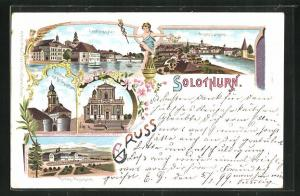 Lithographie Solothurn, Hotel Kurhaus Weissenstein, St. Ursuskirche, Landhaus und Aare